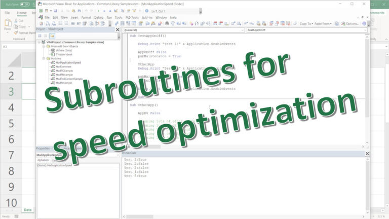 Excel VBA: Subroutines for speed optimization