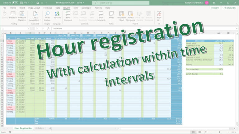 Hour registration in Excel with calculation of time within intervals