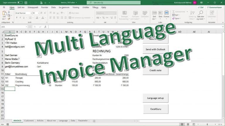 Multi Language Excel Invoice Template