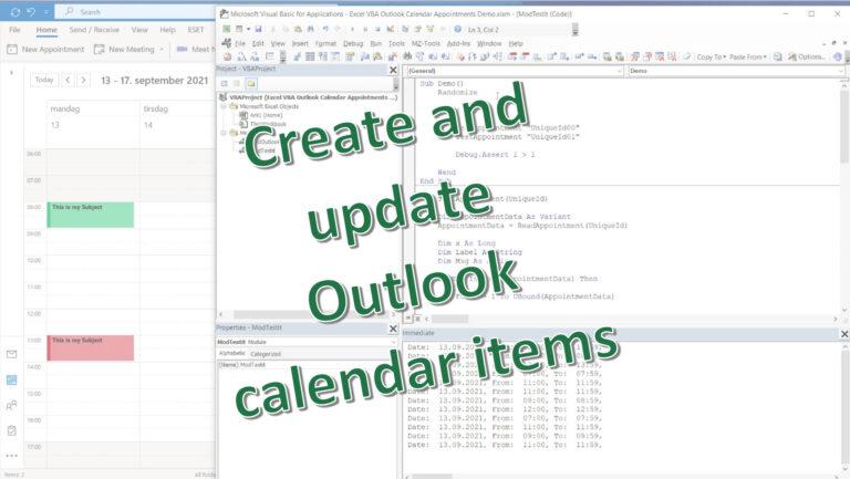 Excel VBA – Create and update Outlook Calendar Items