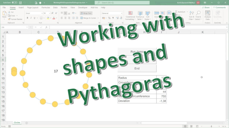 Excel VBA: Working with shapes and Pythagoras